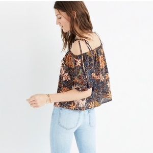 NEW • Madewell • Cold Shoulder Silk Floral Top